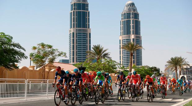The peloton rides past during the Junior Men's Road Race on Day Six of the UCI Road World Championships in Doha yesterday. Photo by Bryn Lennon/Getty Images