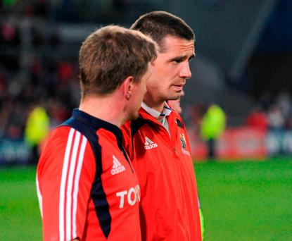 Ronan O'Gara alongside Alan Quinlan after a 2009 league game against Neath-Swansea Ospreys at Thomond Park. Photo: Pat Murphy / Sportsfile