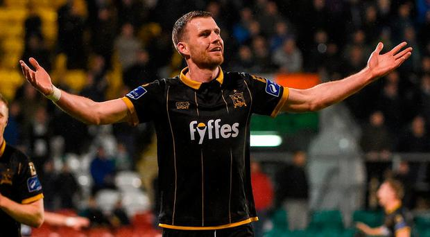 Dundalk's Ciaran Kilduff celebrates after scoring his side's third goal. Photo: David Maher/Sportsfile