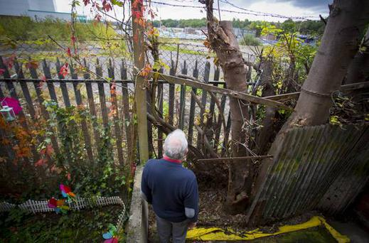 George Reid at the rear of his house which overlooks the site where McDonald's wants to site a branch