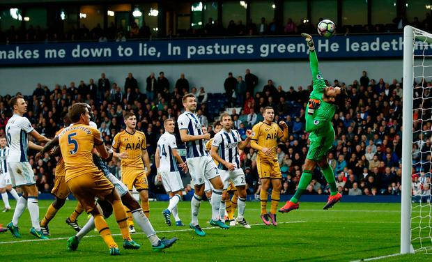 West Bromwich Albion's Ben Foster makes a save