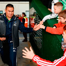 Connacht head coach Pat Lam is greated by young supporters