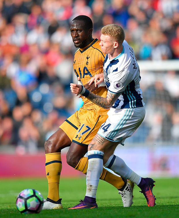 Tottenham Hotspur's Moussa Sissoko (left) and West Bromwich Albion's James McClean tussle for possession. Picture PA