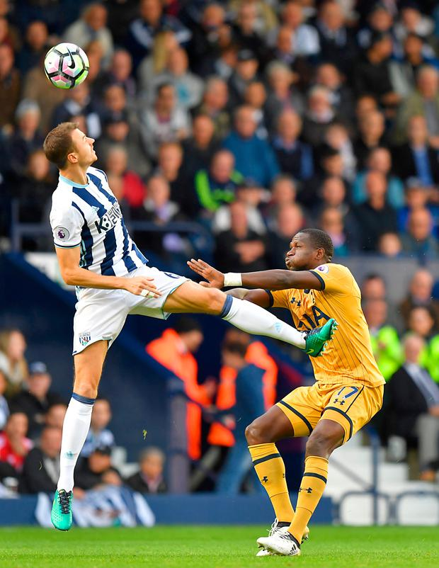 West Brom's Jonny Evans and Tottenham Hotspur's Moussa Sissoko battle for the ball. Picture: PA