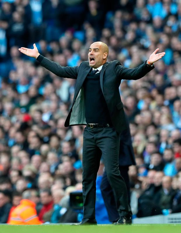 Manchester City manager Pep Guardiola gestures on the touchline. Picture: PA