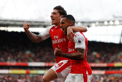 Arsenal's Theo Walcott celebrates scoring their first goal. Picture: Reuters