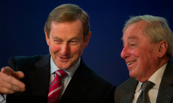 Taoiseach Enda Kenny and Maurice Manning, Chancellor of the National University of Ireland, at the inaugural meeting of the Citizens' Assembly which took place at Dublin Castle Photo: Mark Condren