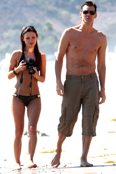 On-off romance: Cathriona White with boyfriend Jim Carrey Photo: FameFlyNet.co.uk