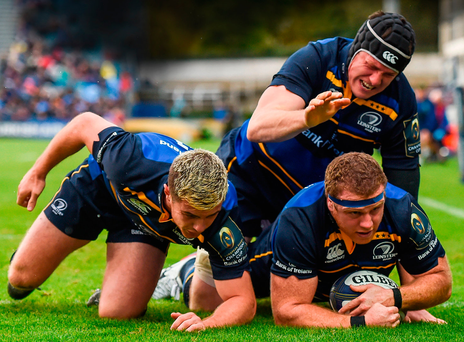 Sean Cronin of Leinster goes over to score his side's first try, alongside team-mates Luke McGrath (left) and Ian Nagle Photo: Stephen McCarthy/Sportsfile