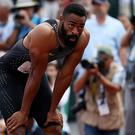 EUGENE, OR - JULY 09: Tyson Gay reacts after the Men's 200 Meter Final during the 2016 U.S. Olympic Track & Field Team Trials at Hayward Field on July 9, 2016 in Eugene, Oregon. (Photo by Patrick Smith/Getty Images)