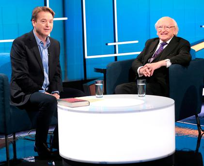 'Irish Independent' columnist David McWilliams with President Michael D Higgins on the set of his new TV show. Picture:Brian McEvoy