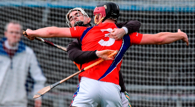 Sean Skehill of St. Thomas (3) in action against Gort's Gavin Lally during the Galway SHC final at Pearse Stadium. Photo: Sportsfile