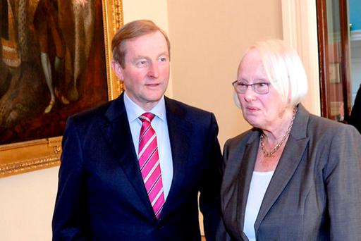 Chairperson of the Citizens' Assembly Justice Mary Laffoy with Taoiseach Enda Kenny at the inaugural meeting of the assembly on Saturday. Photo: Justin Farrelly