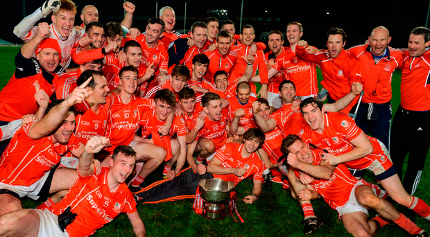 Monaleen players celebrate after the Limerick County Senior Club Football Championship Final match between Monaleen and Dromcollogher-Broadford match. Photo: Sportsfile