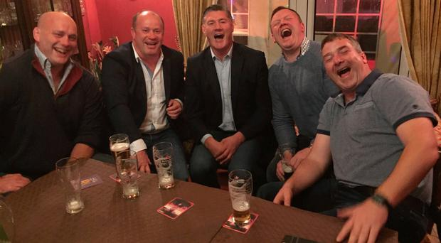 Anthony Foley (right) pictured recently at a celebration for Mick Galwey's 50th birthday alongside former team-mates (l-r) John Hayes, Frankie Sheahan, Eddie Halvey and Stephen Keogh. The picture was posted by Sheahan on Twitter yesterday with the message 'Distraught at the tragic news of Anthony Foley,great friend,teammate & legend.Super form last weekend at Mick Galwey's 50th. Incomprehensible'