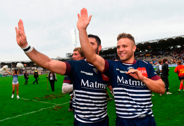 Ian Madigan, right, and Jean-Baptiste Dubíe of Bordeaux-Bégles following their side's victory. Photo: Sportsfile