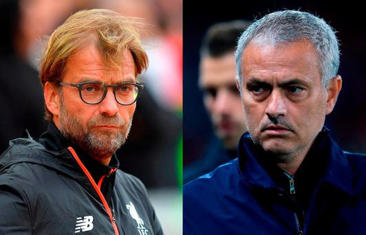 Liverpool manager Jurgen Klopp and Manchester United manager Jose Mourinho.