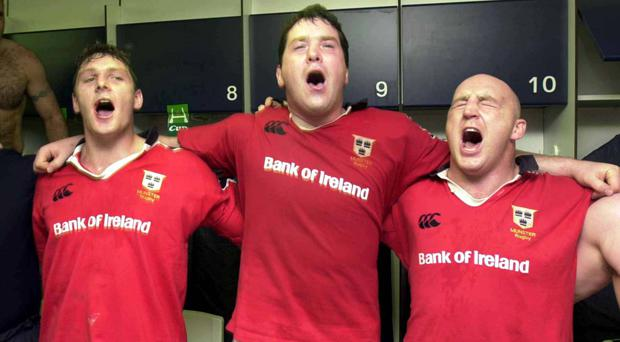 Anthony Foley and Keith Wood celebrate their famous victory over Toulouse in 2000