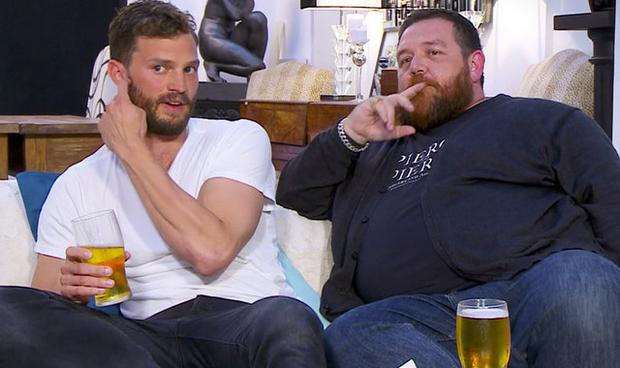 Jamie Dornan and Nick Frost on last year's Celebrity Gogglebox