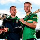 Gregory O'Kane of Antrim, left, and John McGrath of Tipperary, pictured at the GAA Hurling Shinty Launch at Croke Park in Dublin. Photo by Seb Daly/Sportsfile
