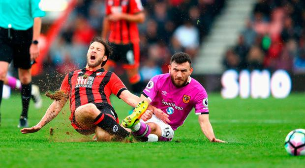 Harry Arter tangles with Robert Snodgrass on Saturday
