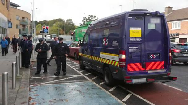 A gang of hooded men struck a security van pulled up at a Bank of Ireland. Photo: Damien Eagers