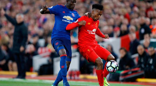 Britain Football Soccer - Liverpool v Manchester United - Premier League - Anfield - 17/10/16 Liverpool's Daniel Sturridge in action with Manchester United's Eric Bailly Action Images via Reuters / Carl Recine Livepic EDITORIAL USE ONLY. No use with unauthorized audio, video, data, fixture lists, club/league logos or