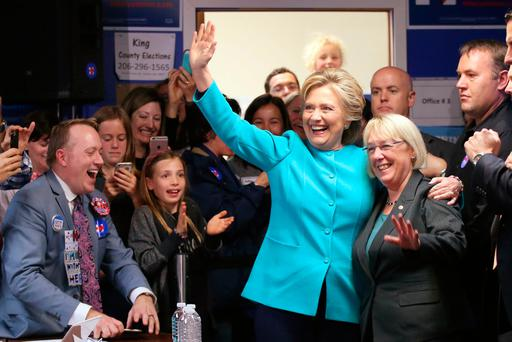 U.S. Democratic presidential nominee Hillary Clinton greets people at a campaign office in Seattle, Washington