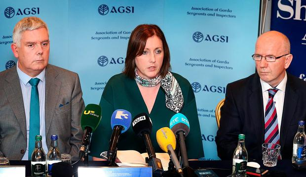 AGSI President Antoinette Cunningham pictured alongside Solicitor Michael Hegarty (Smyth, O'Brien, Hegarty Solicitors) and John Jacob General Secretary at a press briefing following the AGSI vote at the Special Delegate Conference for a withdrawl of labour at the Sheraton Athlone. Pic Steve Humphreys