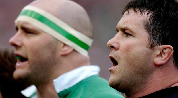 John Hayes and Anthony Foley sing the national anthem before Ireland's clash with Scotland in 2004. Photo: Sportsfile