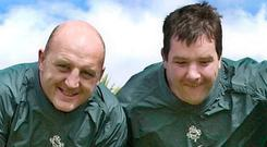 Former Ireland captain Keith Wood pictured alongside his teammate and childhood friend Anthony Foley. Pic Domnick Walsh Photography