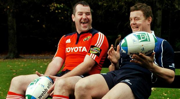 Munster vice-captain Anthony Foley, left, and Leinster captain Brian O'Driscoll pictured at the launch of the 2007/08 Heineken Cup. Picture credit: Brendan Moran / SPORTSFILE