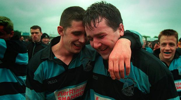 Shannon's Alan Quinlan and Anthony Foley in 1997. Photo: James Meehan/INPHO