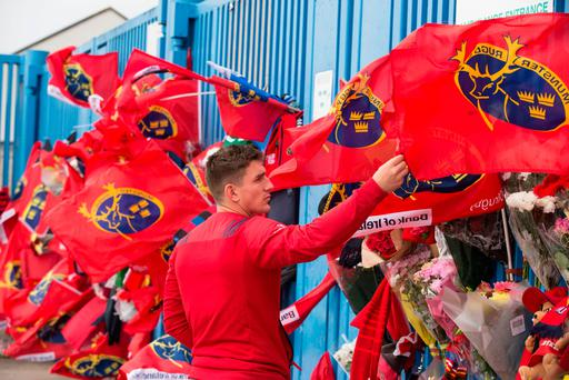 Munster player Ian Keatley at the gates of Thomond Park