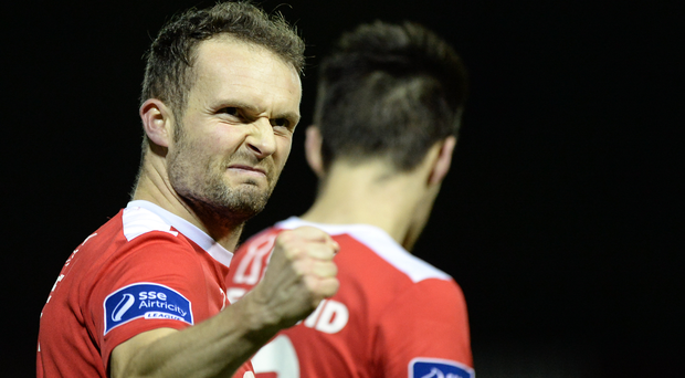 Conan Byrne of St Patrick's Athletic celebrates after scoring his side's third goal Photo by Seb Daly/Sportsfile