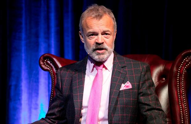 Graham Norton speaks at the Eason 'In Conversation' event at Dublin's Mansion House. Photo: Andres Poveda