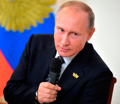 Vladimir Putin has stressed the need to 'fight terrorism' and insists there is no other way apart from 'active fighting' Photo: HOHO/AFP/Getty Images