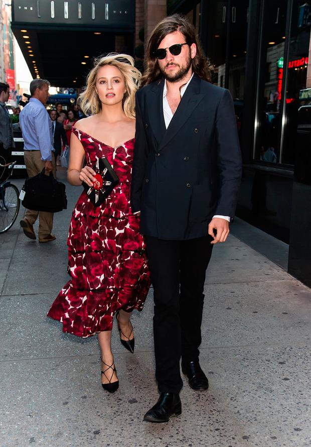 Actress Dianna Agron and musician Winston Marshall are seen at Marc Jacobs fashion show during Spring 2016 New York Fashion Week on September 17, 2015 in New York City. (Photo by Gilbert Carrasquillo/FilmMagic)