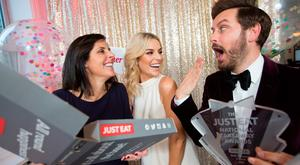 Amanda Roche Kelly, Managing Director JUST EAT Ireland; with hosts Pippa O'Connor Ormond ; and Brian Dowling. Pic: Naoise Culhane