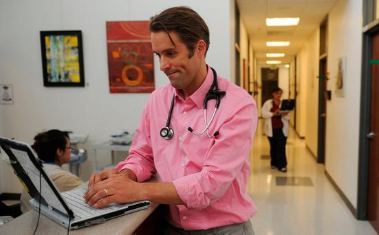 Many patients now receive medical consultations using Skype and other websites. Picture posed