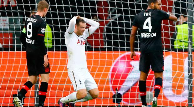 Tottenham's Vincent Janssen reacts after hitting the crossbar