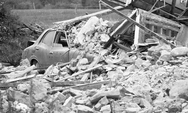 The remains of the IRA booby-trapped house at Garryhinch, Co Laois, which killed Gda Michael Clerkin and injured other gardaí. Photo: Frank McGrath Snr