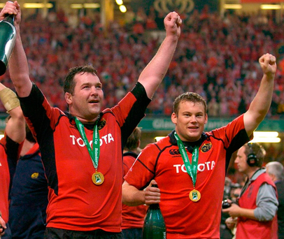 Fogarty's brother Denis (R) celebrates with Anthony Foley after the 2006 Heineken Cup win. Photo by Seb Daly/Sportsfile.