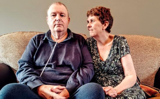 Peter McDonnell with his wife Helen, who is raising money to help treat his illness