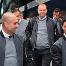 Pep Guardiola with his players in Barcelona