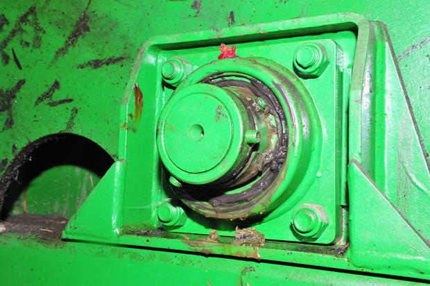 There are a few crucial bearings to keep an eye on in a Keenan feeder. This is the main mixing rotor bearing. If it is on the wane you will probably hear it, smell it or see smoke coming from it in a bad case. It should be greased once a week. Watch not to damage it by reversing into something, a common mistake in these feeders.