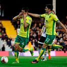 Norwich City's Graham Dorrans (left) celebrates with his team mate Robbie Brady