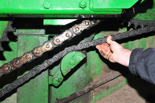 It's fairly easy to check the tension of the drive chains to see if they are getting loose or worn. Normally, a chain shouldn't have more than an inch play in it, so if you can move it further than this it could be getting worn. A replacement drive chain (smaller one) costs €220 while the secondary (bigger) chain costs €460, both including VAT.