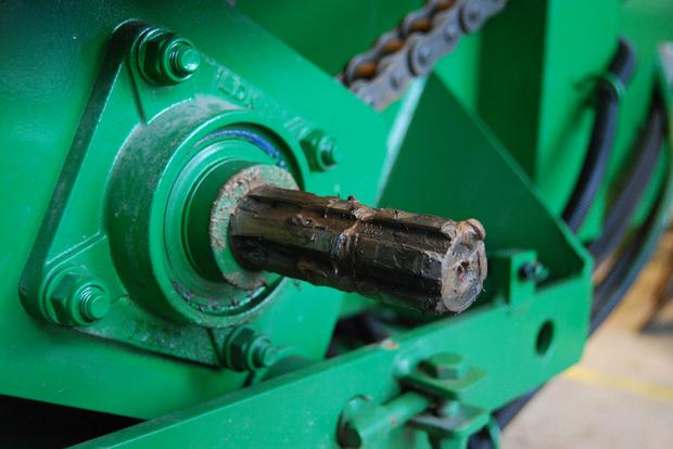 At the front of the machine, don't take any chances with the PTO shaft. Is the cover up to scratch? Replace a worn cover and make sure it is tied and not spinning freely. Winter time is a lethal time for farm accidents, and the diet feeder is responsible for more than its fair share of limb-related trauma and/or fatalities.