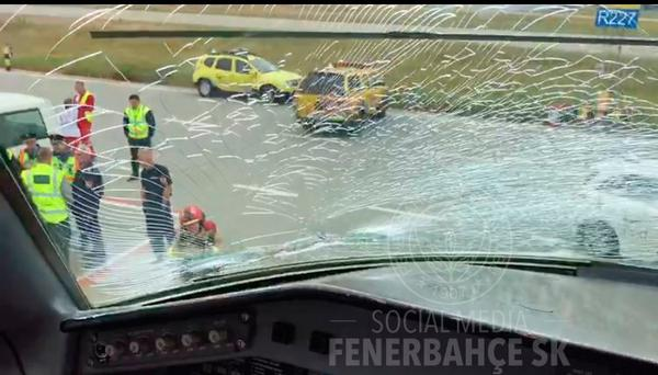 The Fenerbahce plane window was shattered. Pic: @Fenerbahce/Twitter